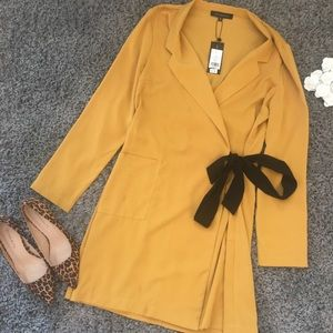 NWT Dynamite mustard yellow dress with a bow